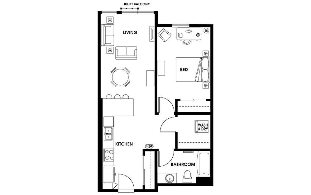 A10 - 1 bedroom floorplan layout with 1 bath and 732 square feet.