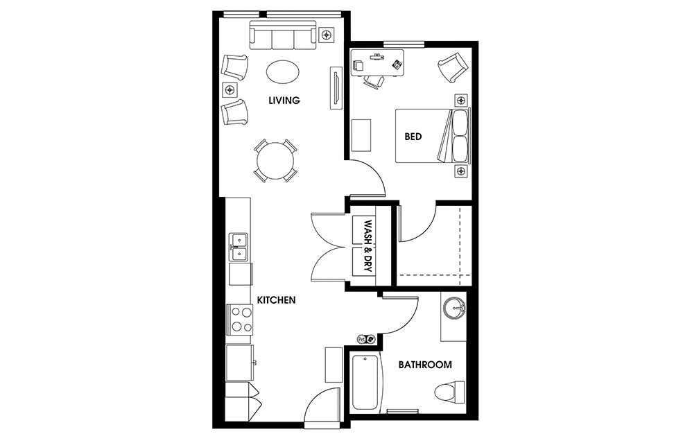 A11 - 1 bedroom floorplan layout with 1 bath and 732 square feet.