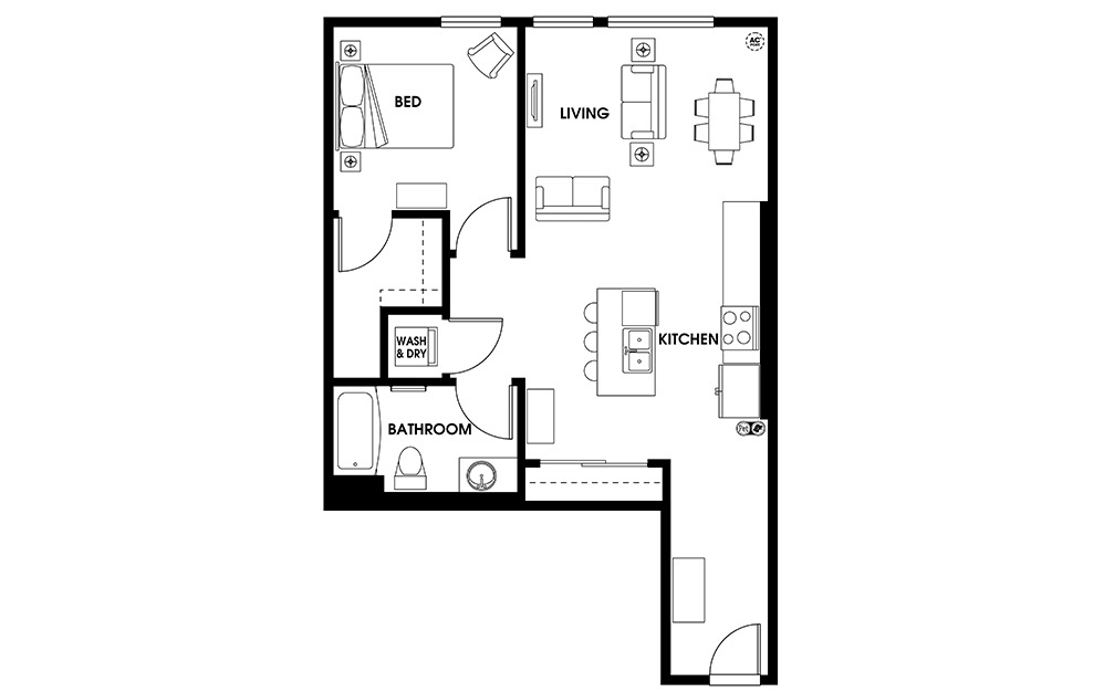 A12 - 1 bedroom floorplan layout with 1 bath and 762 square feet.