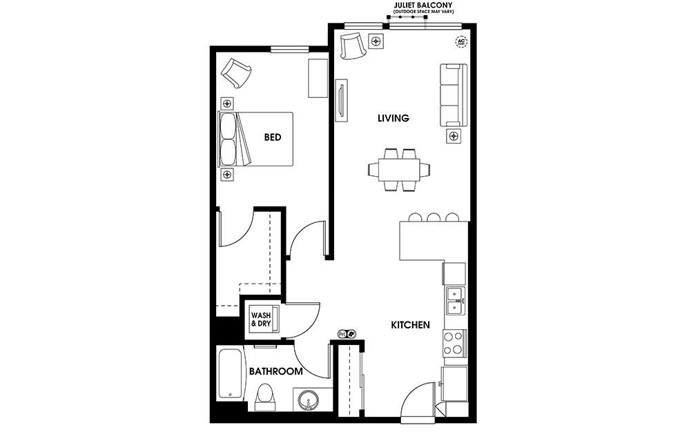 A13 - 1 bedroom floorplan layout with 1 bath and 793 square feet.
