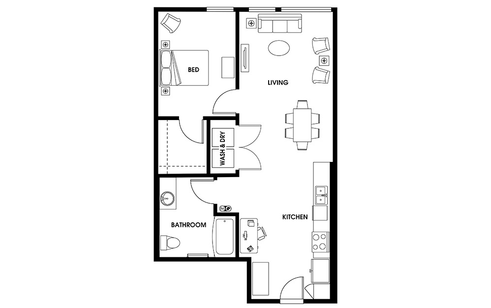 A14 - 1 bedroom floorplan layout with 1 bath and 807 square feet.
