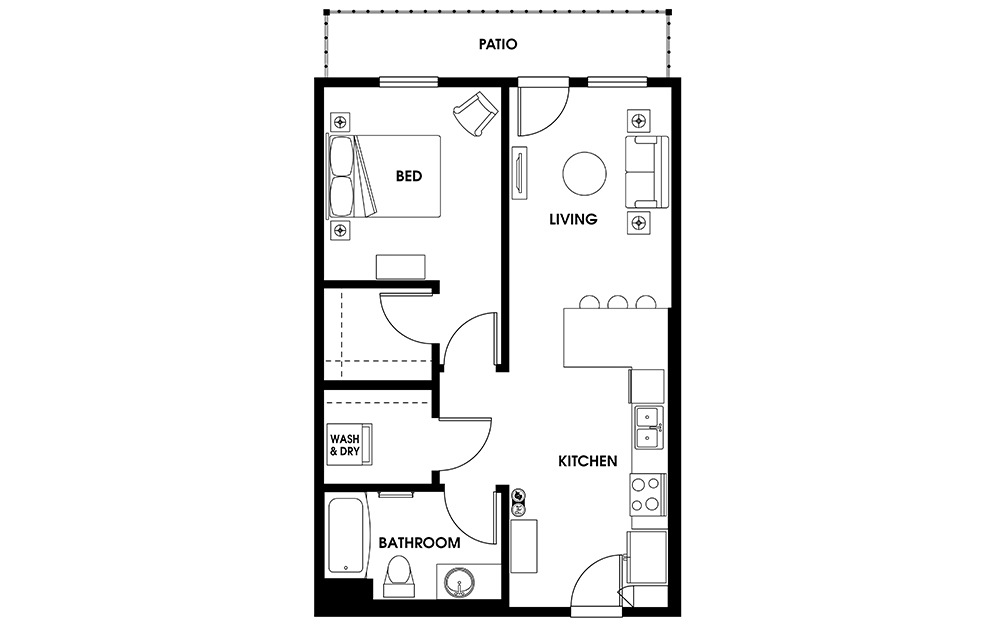A1 - 1 bedroom floorplan layout with 1 bath and 656 square feet.