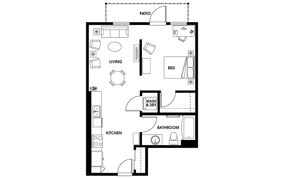 A2 - 1 bedroom floorplan layout with 1 bath and 680 square feet.