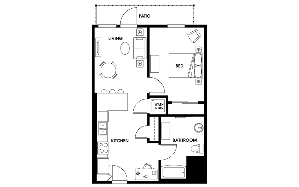 A3 - 1 bedroom floorplan layout with 1 bath and 685 square feet.