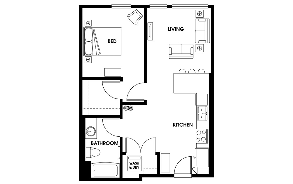 A4 - 1 bedroom floorplan layout with 1 bath and 685 square feet.