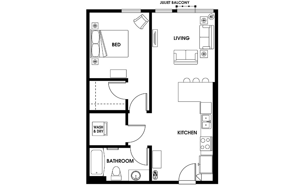 A5 - 1 bedroom floorplan layout with 1 bath and 691 square feet.