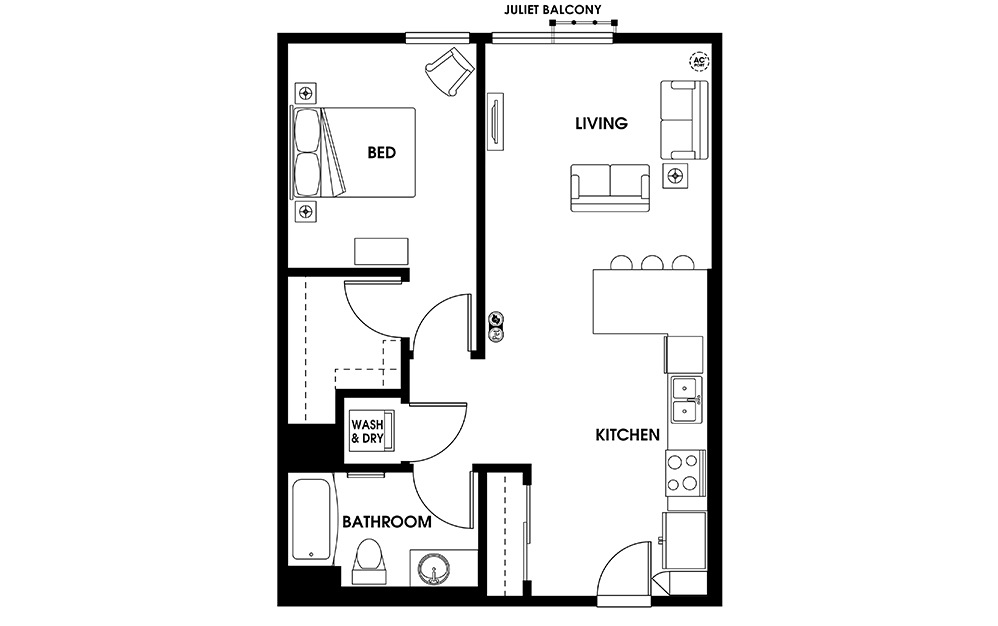 A6 - 1 bedroom floorplan layout with 1 bath and 705 square feet.