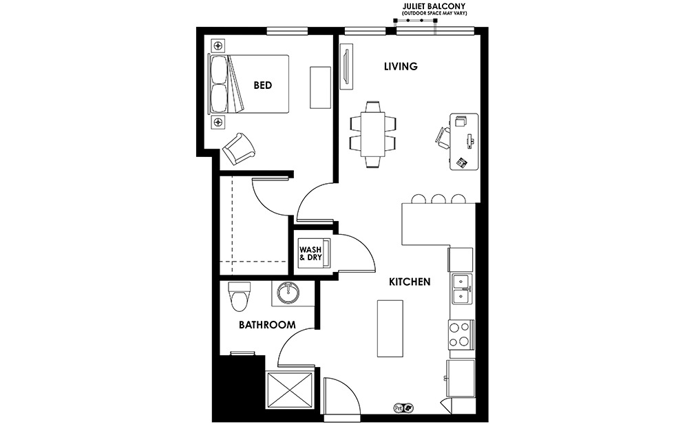 A7 - 1 bedroom floorplan layout with 1 bath and 707 square feet.