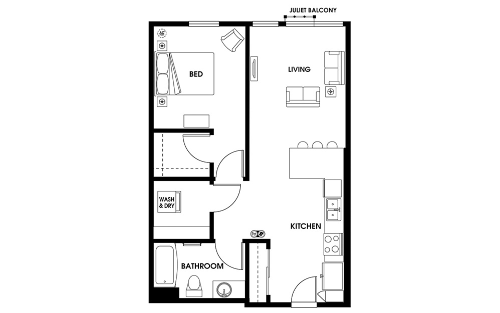 A8 - 1 bedroom floorplan layout with 1 bath and 709 square feet.