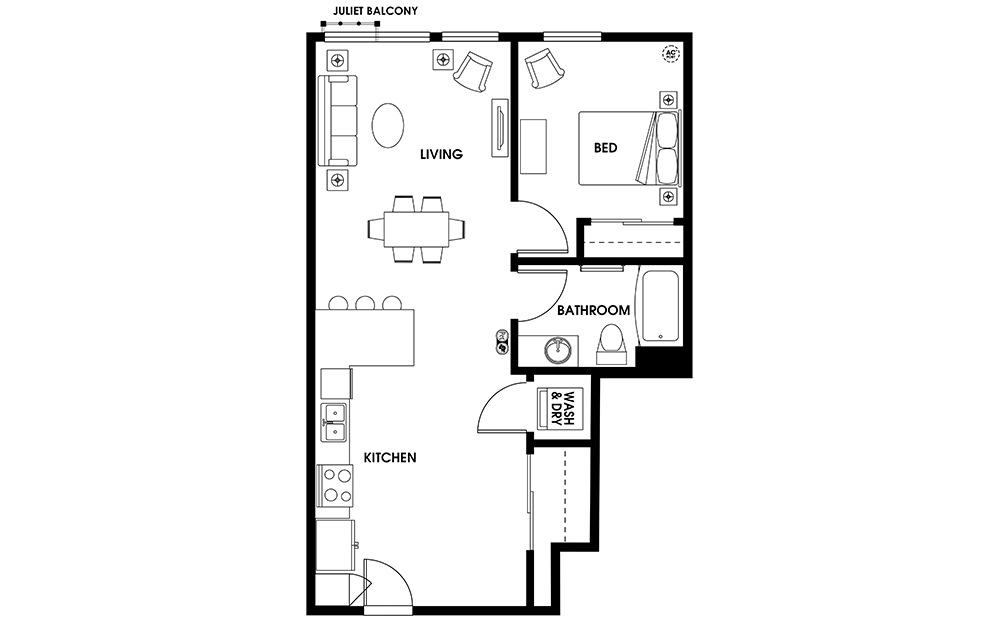A9 - 1 bedroom floorplan layout with 1 bath and 727 square feet.