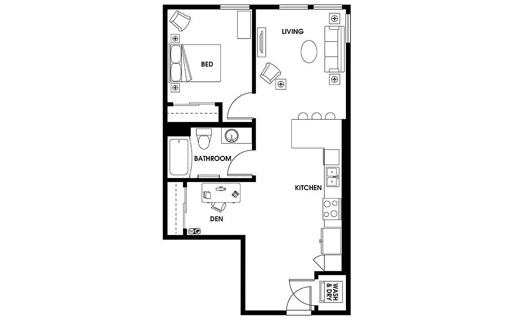 AD2 - 1 bedroom floorplan layout with 1 bath and 739 square feet.