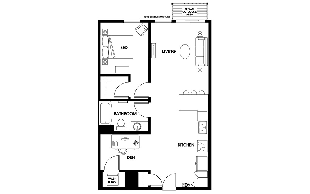 AD3 - 1 bedroom floorplan layout with 1 bath and 765 square feet.
