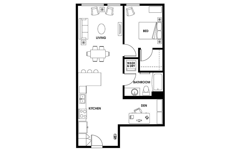 AD4 - 1 bedroom floorplan layout with 1 bath and 807 square feet.