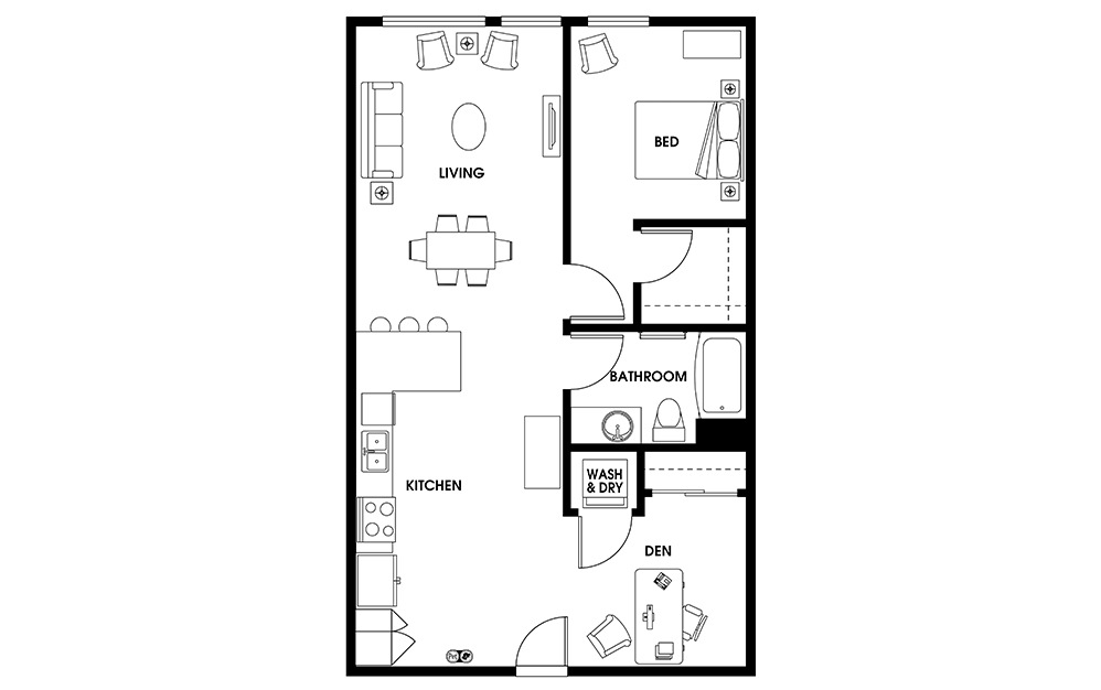 AD5 - 1 bedroom floorplan layout with 1 bath and 863 square feet.