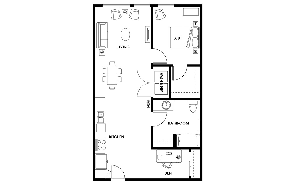 AD6 - 1 bedroom floorplan layout with 1 bath and 780 to 873 square feet.