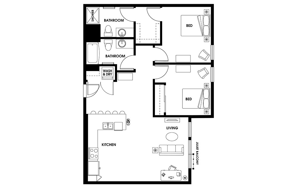 B10 - 2 bedroom floorplan layout with 2 baths and 1096 square feet.