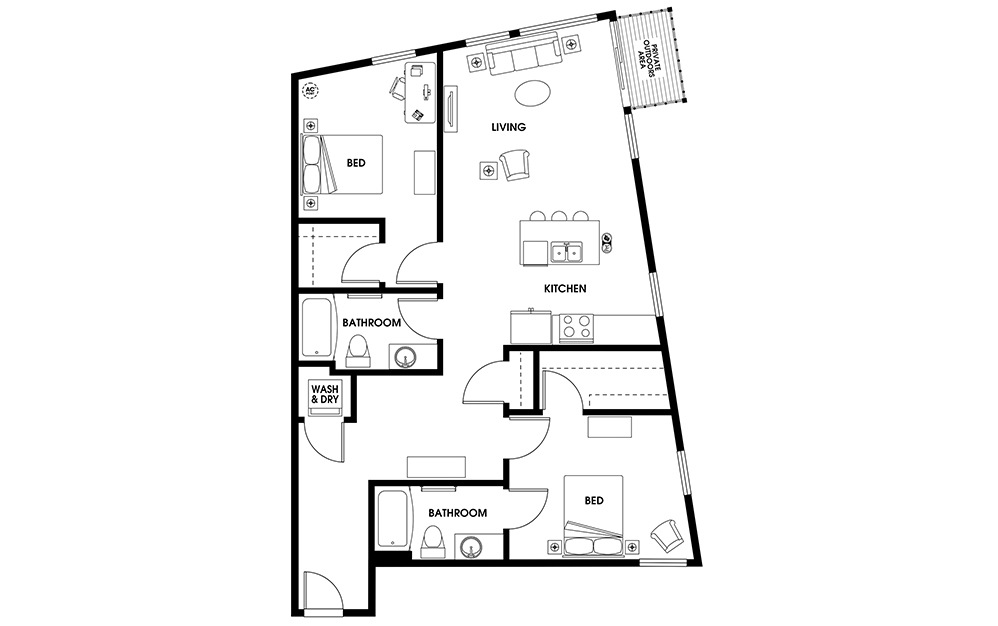 B11 - 2 bedroom floorplan layout with 2 baths and 1125 square feet.
