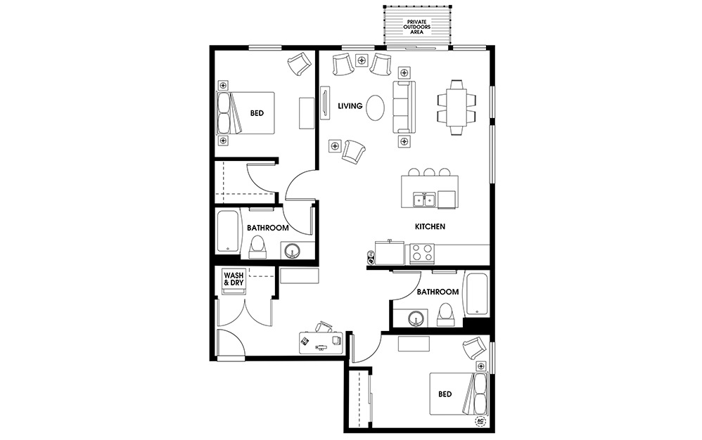 B12 - 2 bedroom floorplan layout with 2 baths and 1128 square feet.