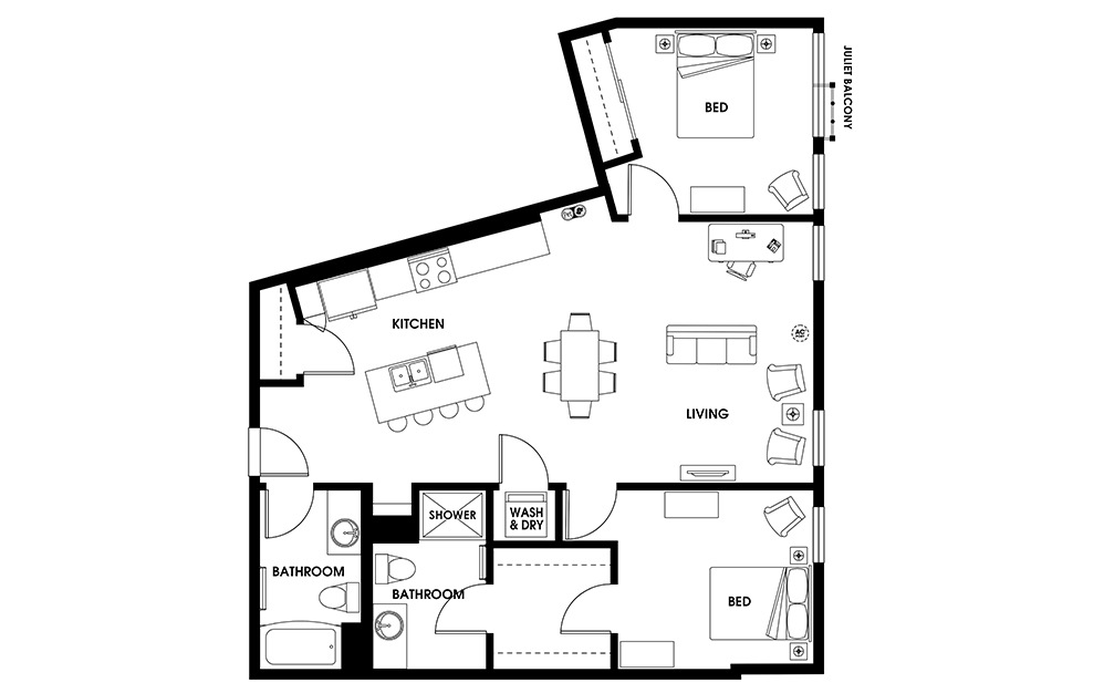 B13 - 2 bedroom floorplan layout with 2 baths and 1145 square feet.