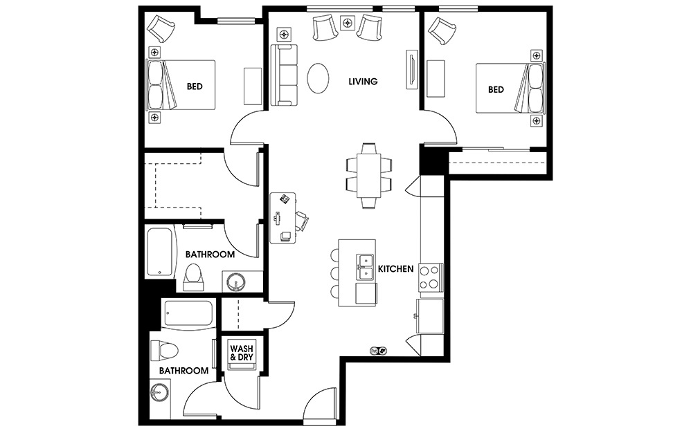 B14 - 2 bedroom floorplan layout with 2 baths and 1152 square feet.