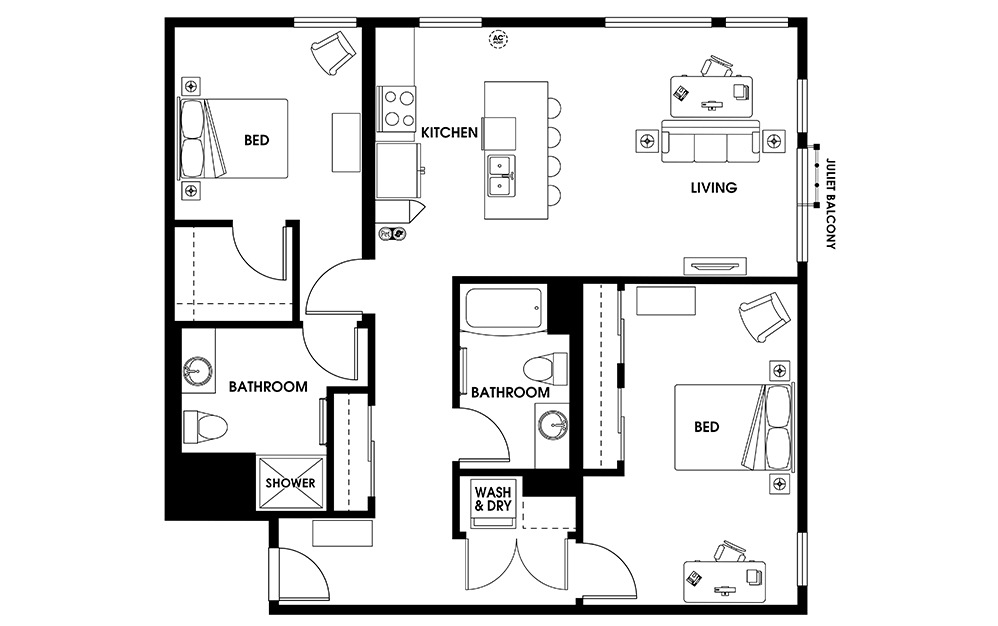 B15 - 2 bedroom floorplan layout with 2 baths and 1153 square feet.