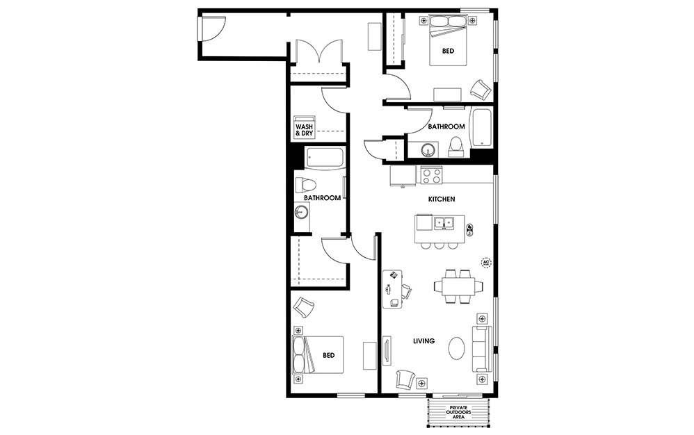 B16 - 2 bedroom floorplan layout with 2 baths and 1240 square feet.
