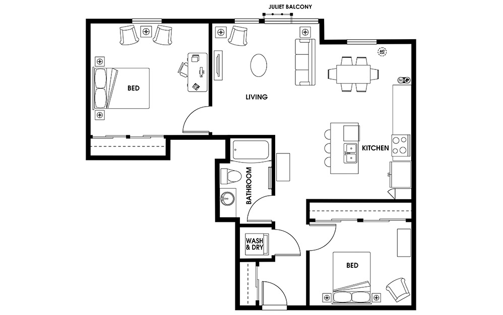 B1 - 2 bedroom floorplan layout with 1 bath and 971 square feet.