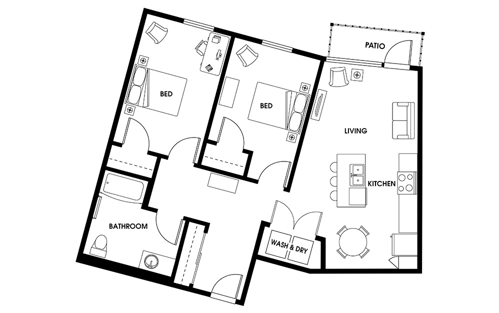 B2 - 2 bedroom floorplan layout with 1 bath and 1088 square feet.