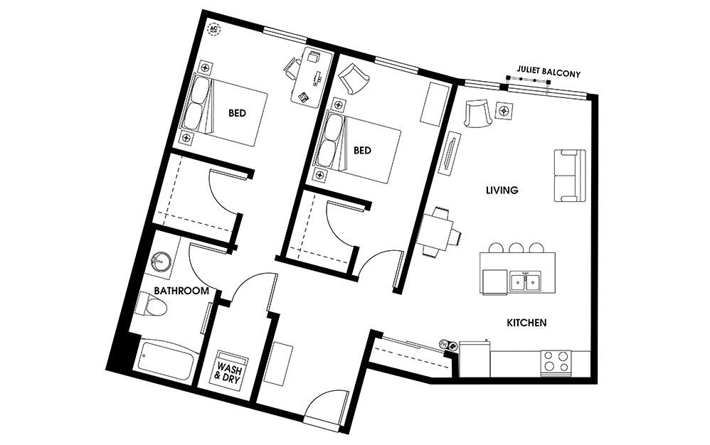B3 - 2 bedroom floorplan layout with 1 bath and 1034 square feet.