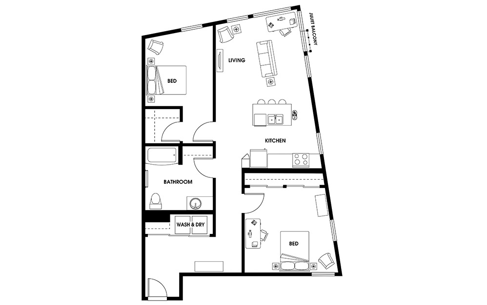 B4 - 2 bedroom floorplan layout with 1 bath and 1125 square feet.