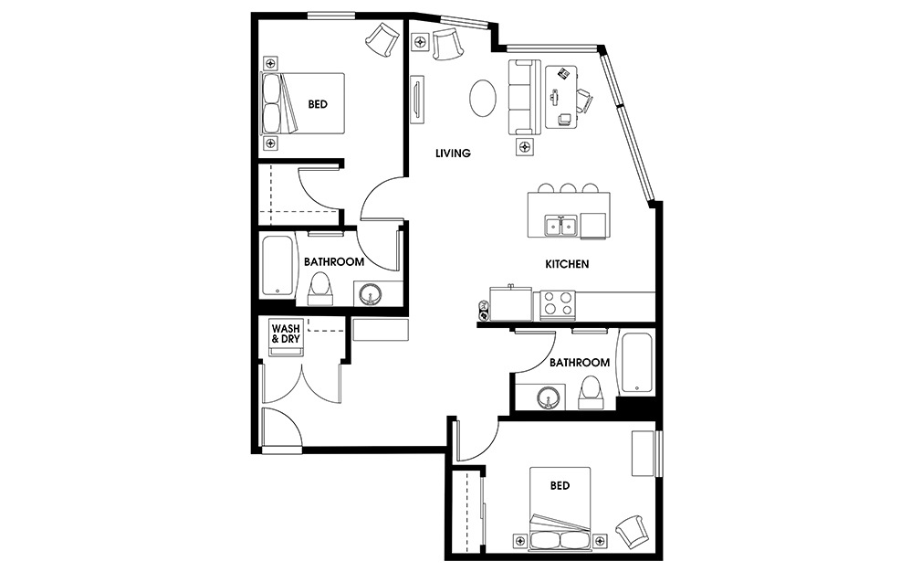 B5 - 2 bedroom floorplan layout with 2 baths and 1042 square feet.
