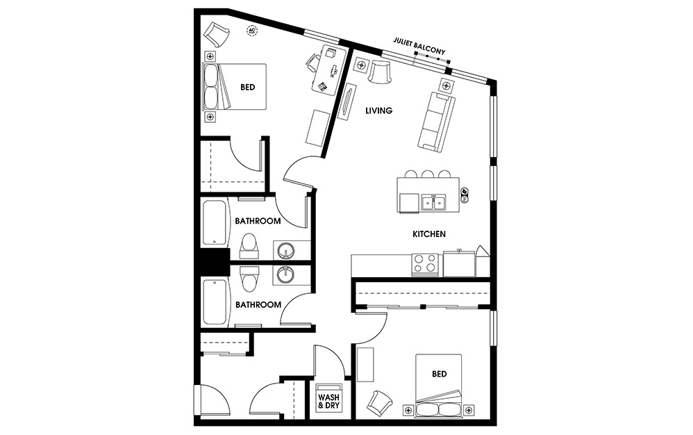 B6 - 2 bedroom floorplan layout with 2 baths and 1067 square feet.