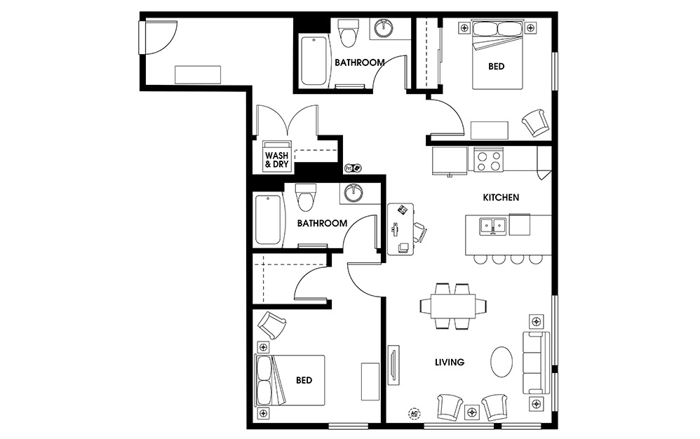 B7 - 2 bedroom floorplan layout with 2 baths and 1069 square feet.
