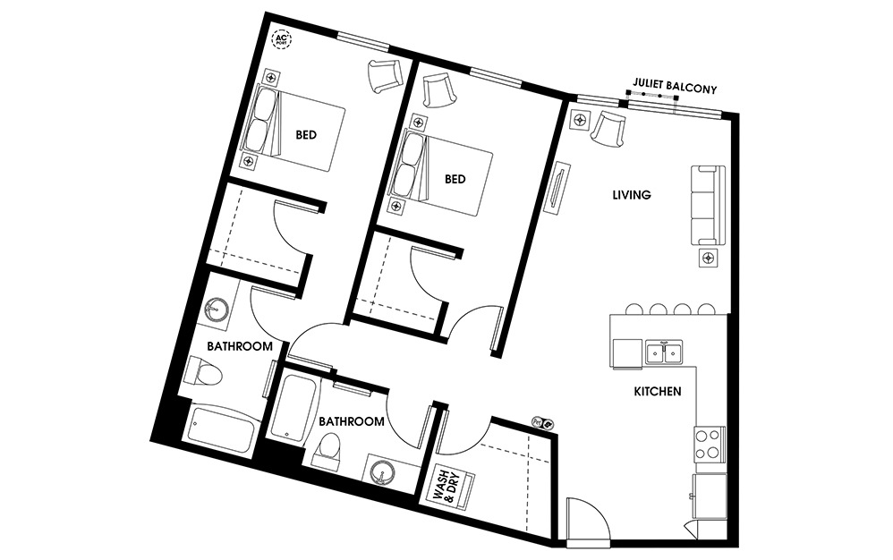 B8 - 2 bedroom floorplan layout with 2 baths and 1089 square feet.