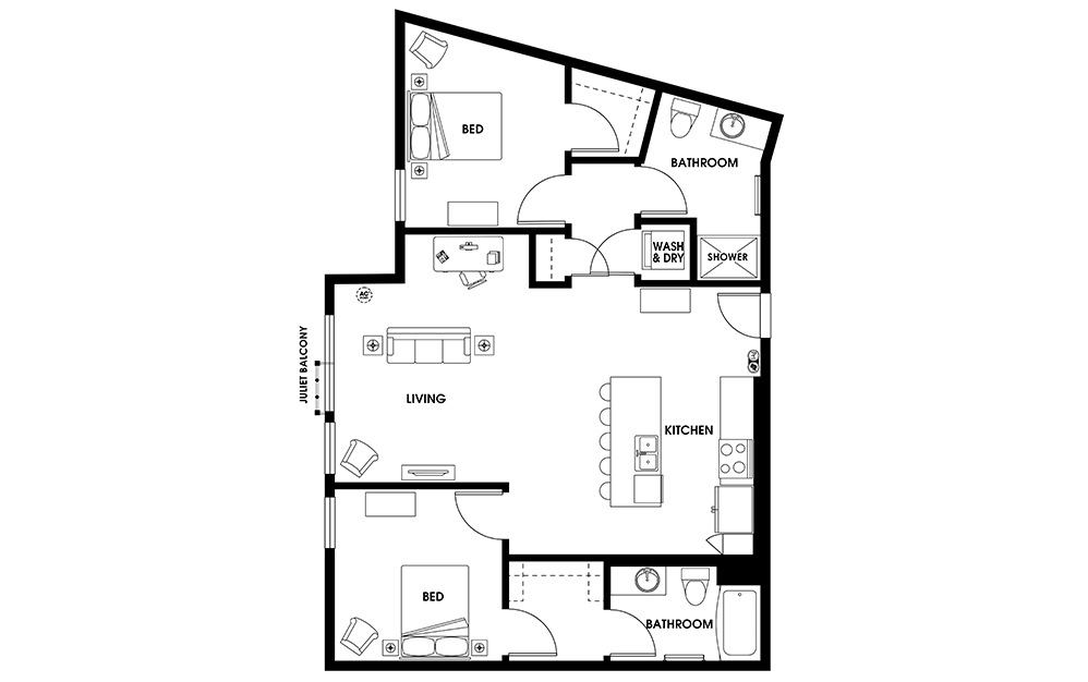 B9 - 2 bedroom floorplan layout with 2 baths and 1090 square feet.