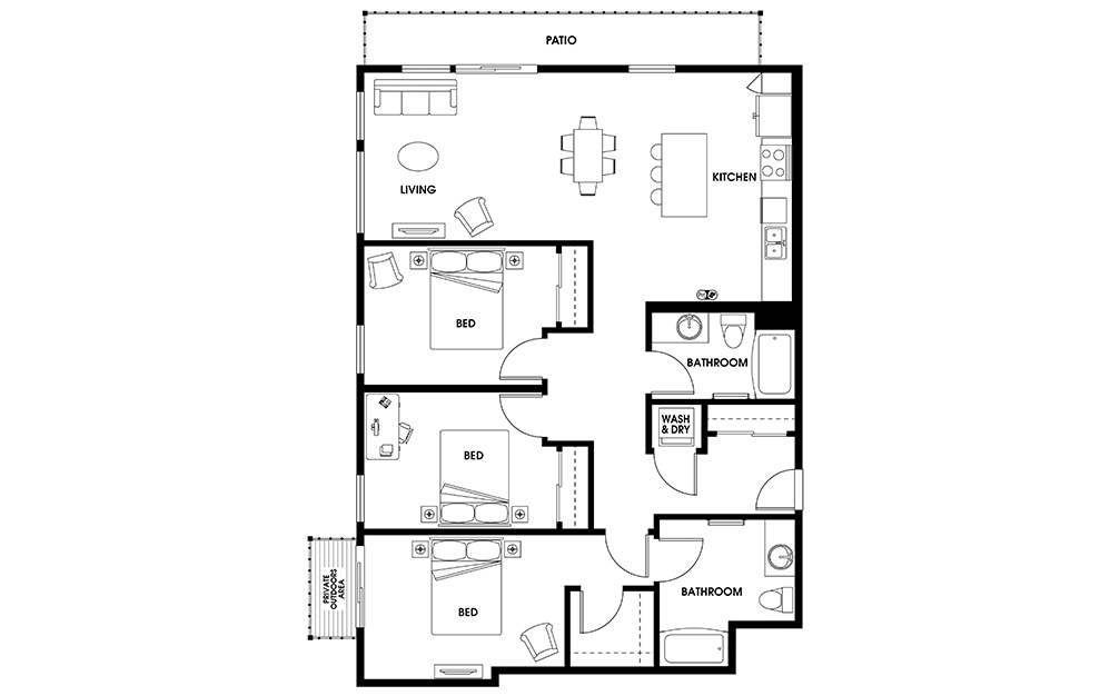 C10 - 3 bedroom floorplan layout with 2 baths and 1671 square feet.