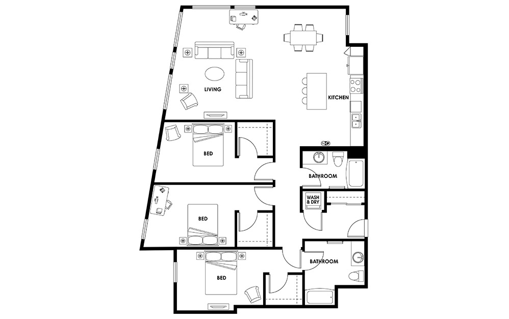C11 - 3 bedroom floorplan layout with 2 baths and 1672 square feet.