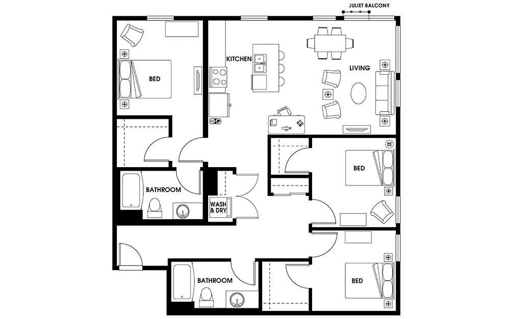 C1 - 3 bedroom floorplan layout with 2 baths and 1330 square feet.