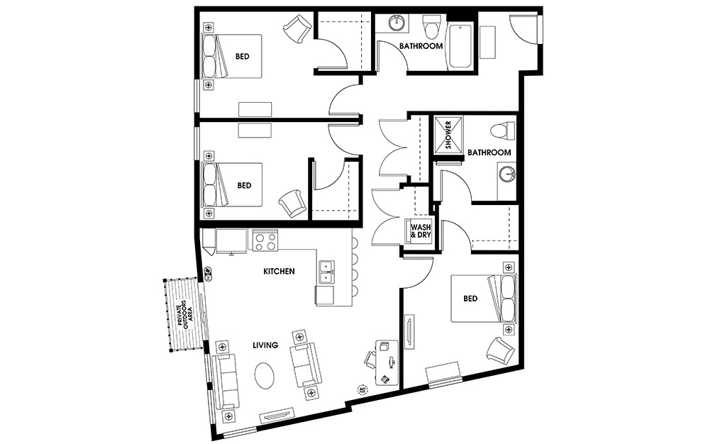 C2 - 3 bedroom floorplan layout with 2 baths and 1347 square feet.