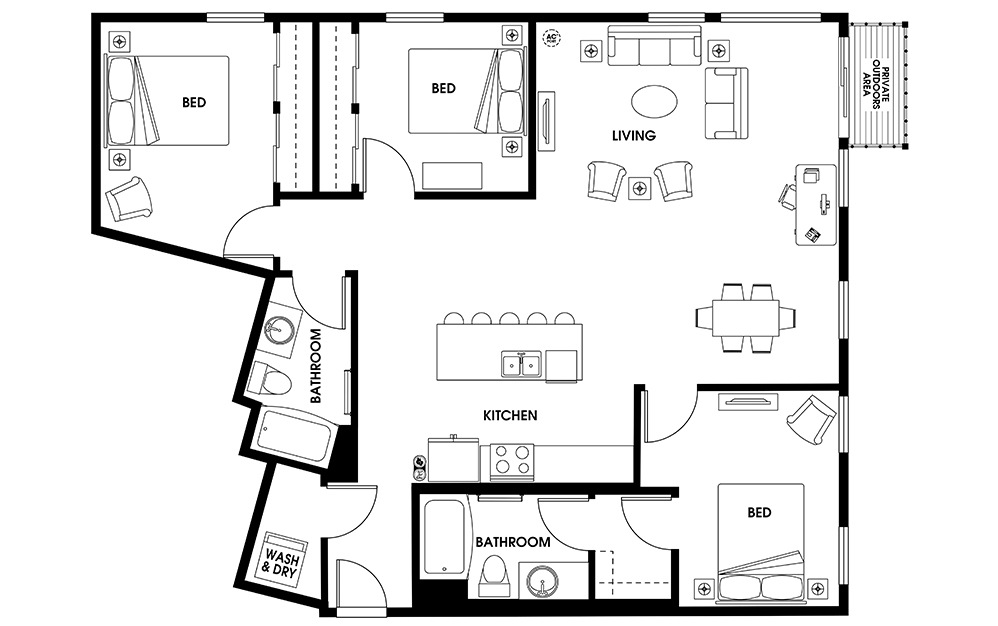 C3 - 3 bedroom floorplan layout with 2 baths and 1400 square feet.