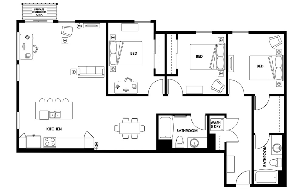C4 - 3 bedroom floorplan layout with 2 baths and 1563 square feet.
