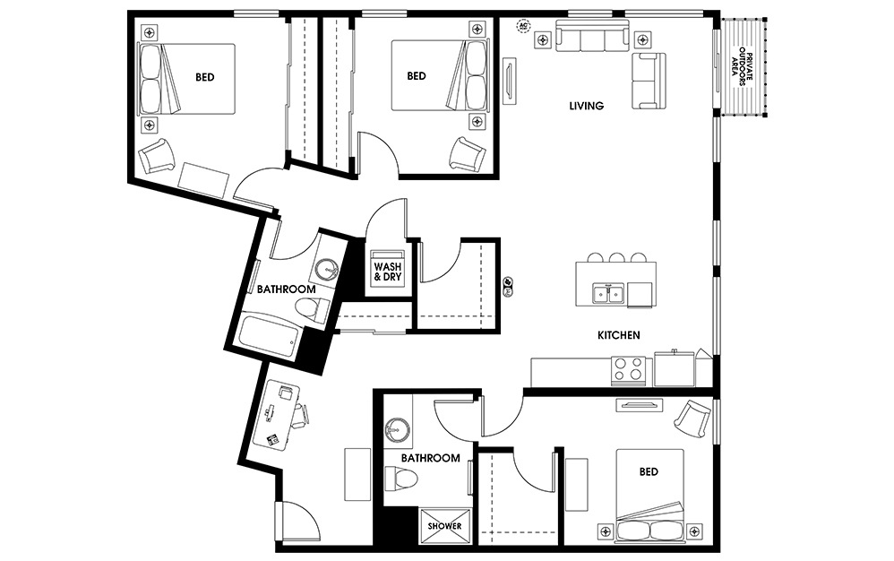 C5 - 3 bedroom floorplan layout with 2 baths and 1573 square feet.