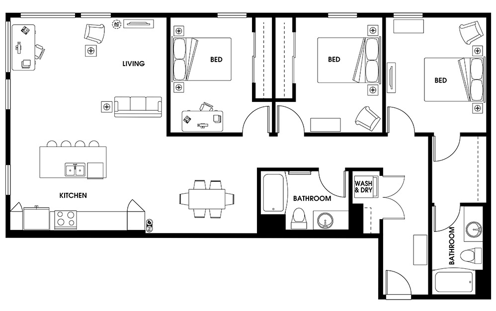 C6 - 3 bedroom floorplan layout with 2 baths and 1583 square feet.