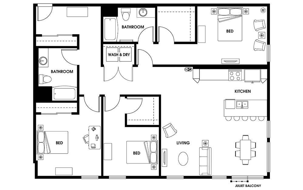 C8 - 3 bedroom floorplan layout with 2 baths and 1604 square feet.