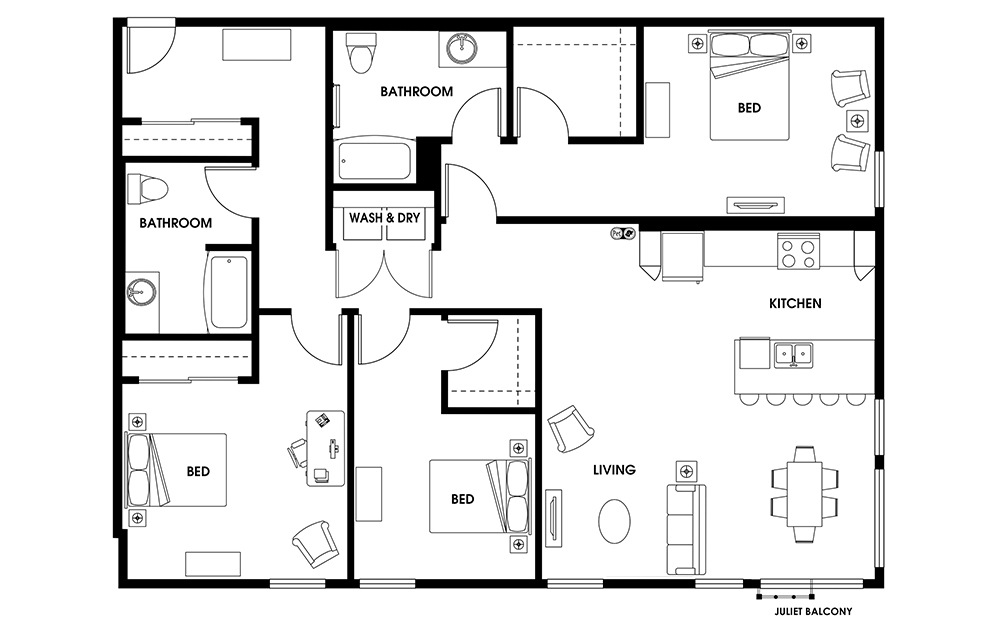C9 - 3 bedroom floorplan layout with 2 baths and 1604 square feet.