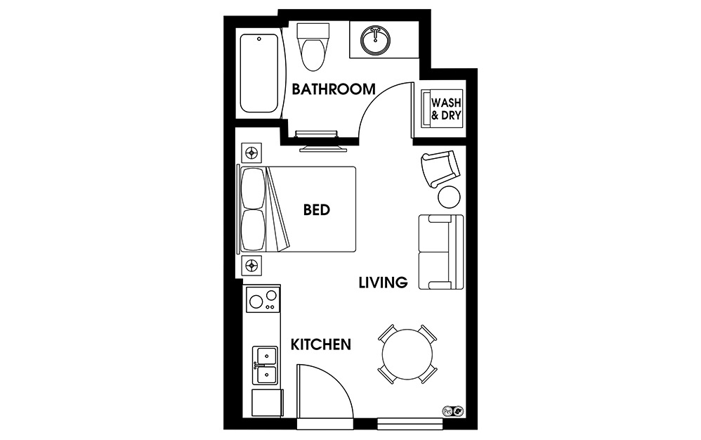 S1 - Petite Suites floorplan layout with 1 bath and 315 square feet.