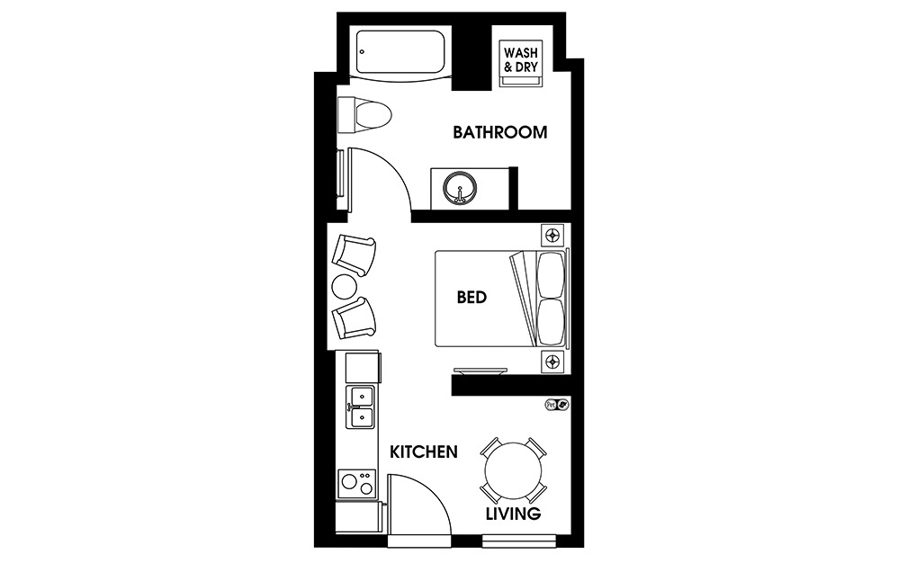 S2 - Petite Suites floorplan layout with 1 bath and 335 square feet.