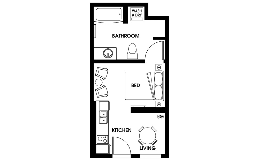 S3 - Petite Suites floorplan layout with 1 bath and 340 square feet.