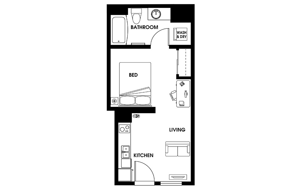 S4 - Petite Suites floorplan layout with 1 bath and 435 square feet.