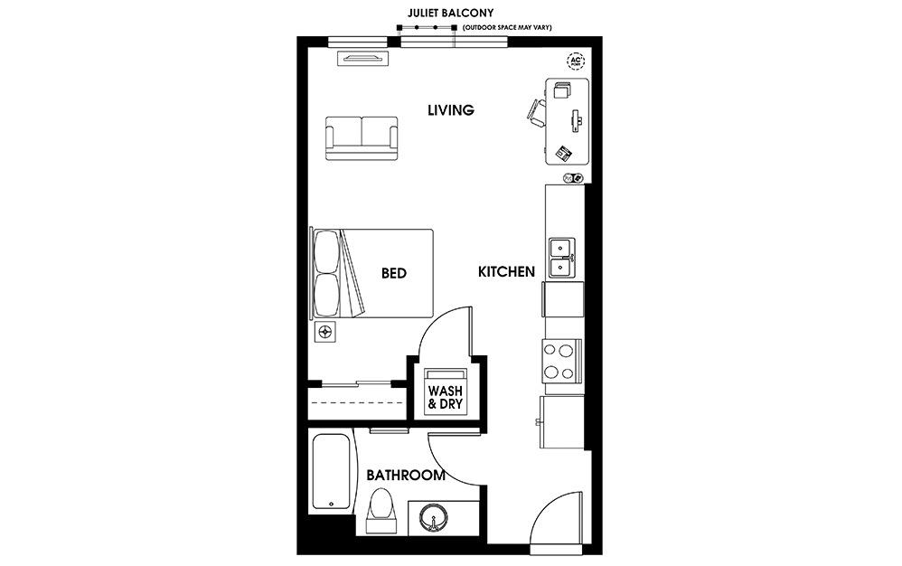 S5 - Studio Flats floorplan layout with 1 bath and 504 square feet.